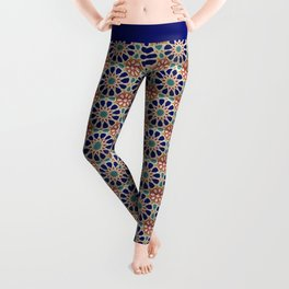-A21- Traditional Colored Moroccan Mandala Artwork. Leggings