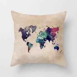 Cold World Map #map #worldmap Throw Pillow