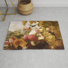 Still Life With Roses And Wine Glasses 1855 By Thomas Hill | Reproduction Rug