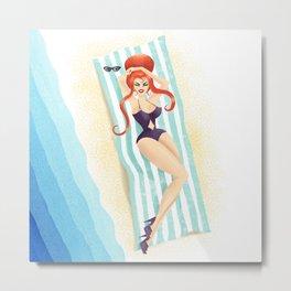 Red Haired Bouffant Beach Blanket Bombshell Metal Print
