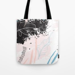 Exotic leaves on grunge background Tote Bag