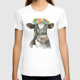 Black and White Cow with Floral Crown Watercolor Painting T-shirt