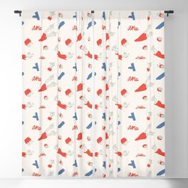 Minimal retro pattern with carrot&celery Blackout Curtain