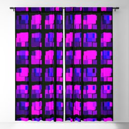 Interweaving tile of violet intersecting rectangles and dark bricks. Blackout Curtain