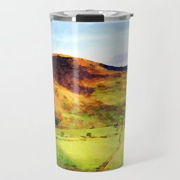 Looking Down to Buttermere Valley, Lake District, UK.  Watercolor Painting Travel Mug