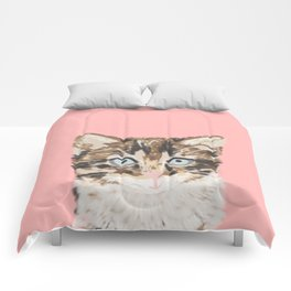 Kitten cutest pastel gift for valentines day cat pet friendly furry friend fur baby kittens animal Comforters