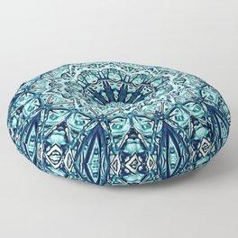 Green Blue Black Mandala  Psychedelic Pattern Floor Pillow