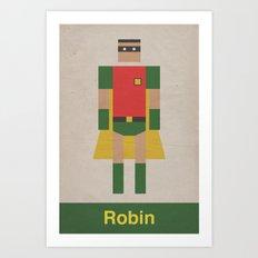Retro Robin Art Print