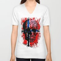 norway V-neck T-shirts featuring Skull circuit (norway-flag) by seb mcnulty