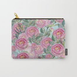 Vintage Roses Mint Carry-All Pouch