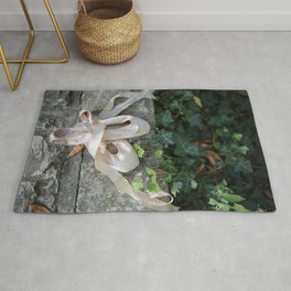 Pink Ballet Pointe Shoes on Limestone Wall with Ivy Vines 2 Rug