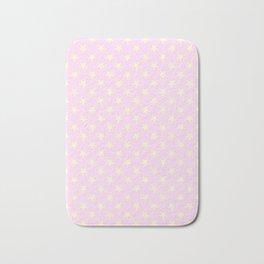 Cream Yellow on Pink Lace Stars Bath Mat