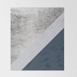 Modern minimalist navy blue grey and silver foil geometric color block Throw Blanket