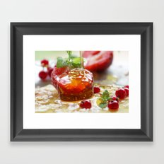Summer Love strawberries with honey Framed Art Print