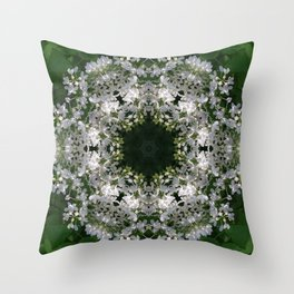 Botanical lace, white lilac mandala /kaleidoscope Throw Pillow