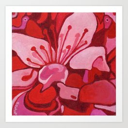 Cherry Blossom in Red Art Print