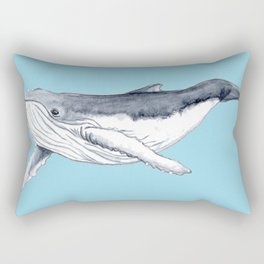 Baby humpback whale blue for boys and baby room Rectangular Pillow
