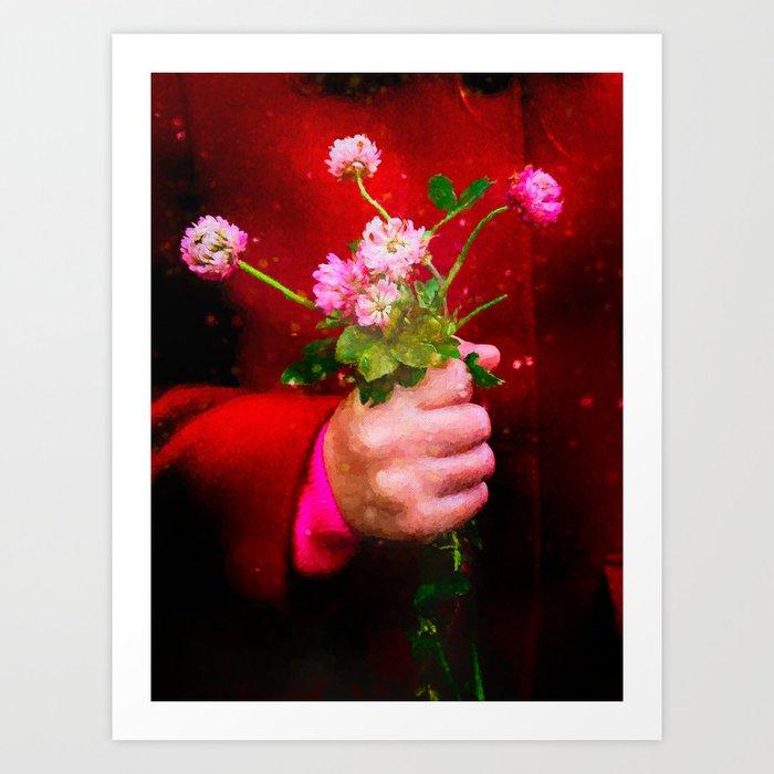 Girl holding wild clover flowers - by Brian Vegas Art Print