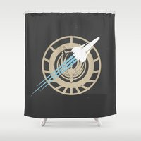 battlestar Shower Curtains featuring Battle stars by Niels Revers Design