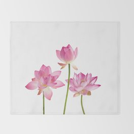 Lotos Waterlilies Flowes pink Throw Blanket