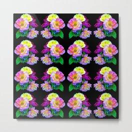 Rosa Yellow Roses on Black Pattern Metal Print