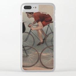 Vintage Cyclist Race Illustration (1896) Clear iPhone Case