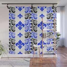 Fluer de Lis Custom Blue Wall Mural