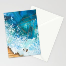 Low Tide Ocean Beach Geometric Stationery Cards