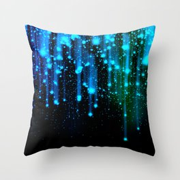 Nights Of Rain and Stars Meteor Shower Blue Throw Pillow