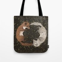 foxes Tote Bags featuring Foxes by Jessica Roux