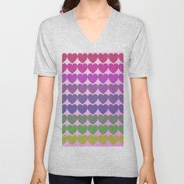 Hearts of multicolor Unisex V-Neck