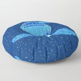 Hot Air Balloon Against a Deep Blue Night Sky Floor Pillow