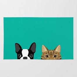 Boston Terrier & Tabby Rug