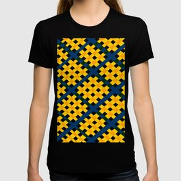 GEOMETRIC YELLOW AND BLUE Abstract Art T-shirt