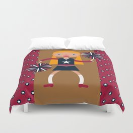 American Cheerleader with pom-poms Duvet Cover