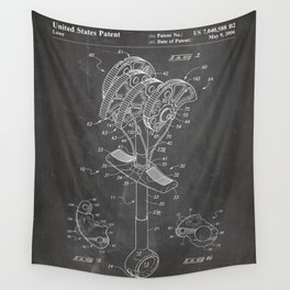 Climbing Anchor Patent - Rock Climber Art - Black Chalkboard Wall Tapestry