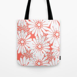 Summer Flowers Living Coral Tote Bag