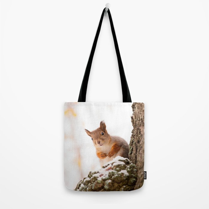 Squirrel in first snow #decor #buyart #society6 Tote Bag