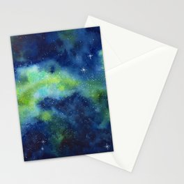Blue and Green Night Sky Watercolor Stationery Cards