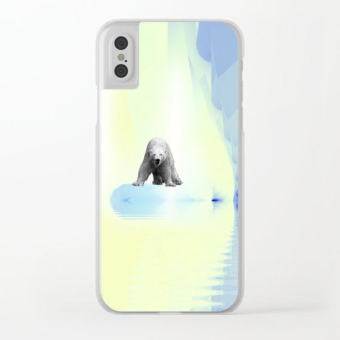 Polar Bear Fractal Clear iPhone Case