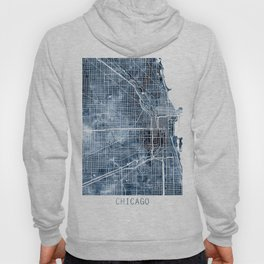 Chicago Map Blue Watercolor by Zouzounio Art Hoody