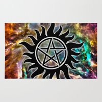 pentagram Area & Throw Rugs featuring Supernatural by Spooky Dooky