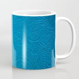 Royal Blue Tooled Leather Coffee Mug