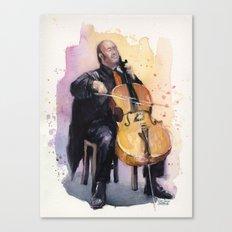 Cello Music Watercolor Cellist Portrait Canvas Print