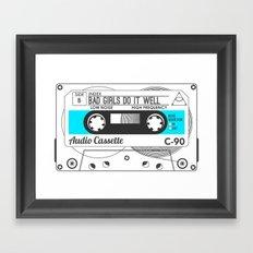 Audio Cassette SIDE B ▲BADGIRLSDOITWELL▲ BLUE Framed Art Print