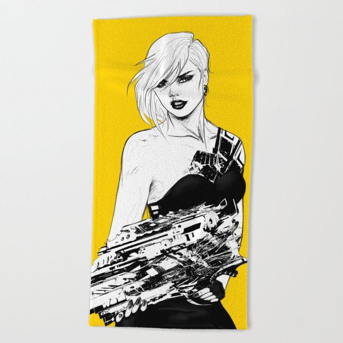 Arbitrary - Badass girl with gun in comic and pop art style Beach Towel