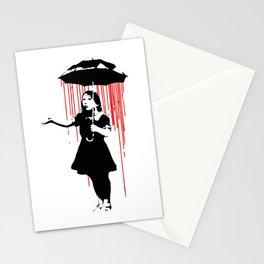 Rain Girl - Banksy, Umbrella Raining Streetart Street Art, Grafitti, Artwork, Design For Men, Women, Stationery Cards