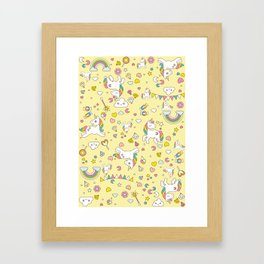 Unicorn Yellow Pattern Framed Art Print