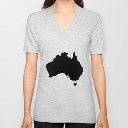 Australia Black Silhouette Map Unisex V-Neck