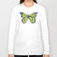 lime Long Sleeve T-shirts featuring Lime Butterfly by Cat Coquillette